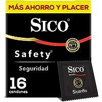 Sico Condones De Látex Lubricados, Sico Safety, Color Natural, Cartera Con 16 Piezas, color , 16 count, pack of/paquete de