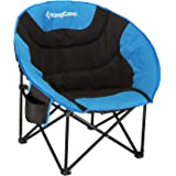 KingCamp Camping Chair Moon Round Saucer Chair Folding Padded Portable Outdoor Chair for Adults with Cup Holder, Storage…