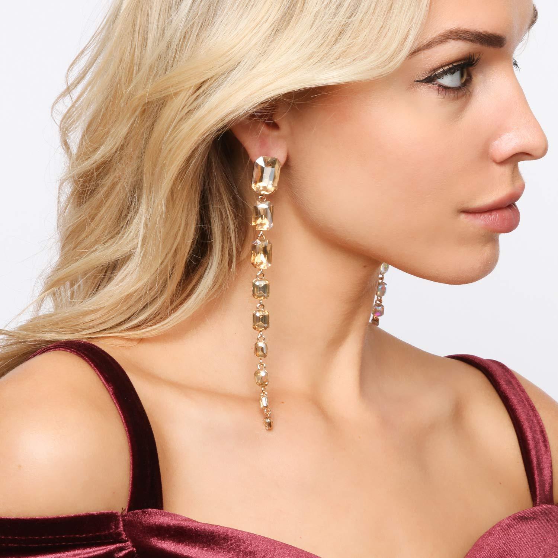 Long Rhinestone Emerald Shape Long Dangle Droplets Stud Post Fashion Earrings