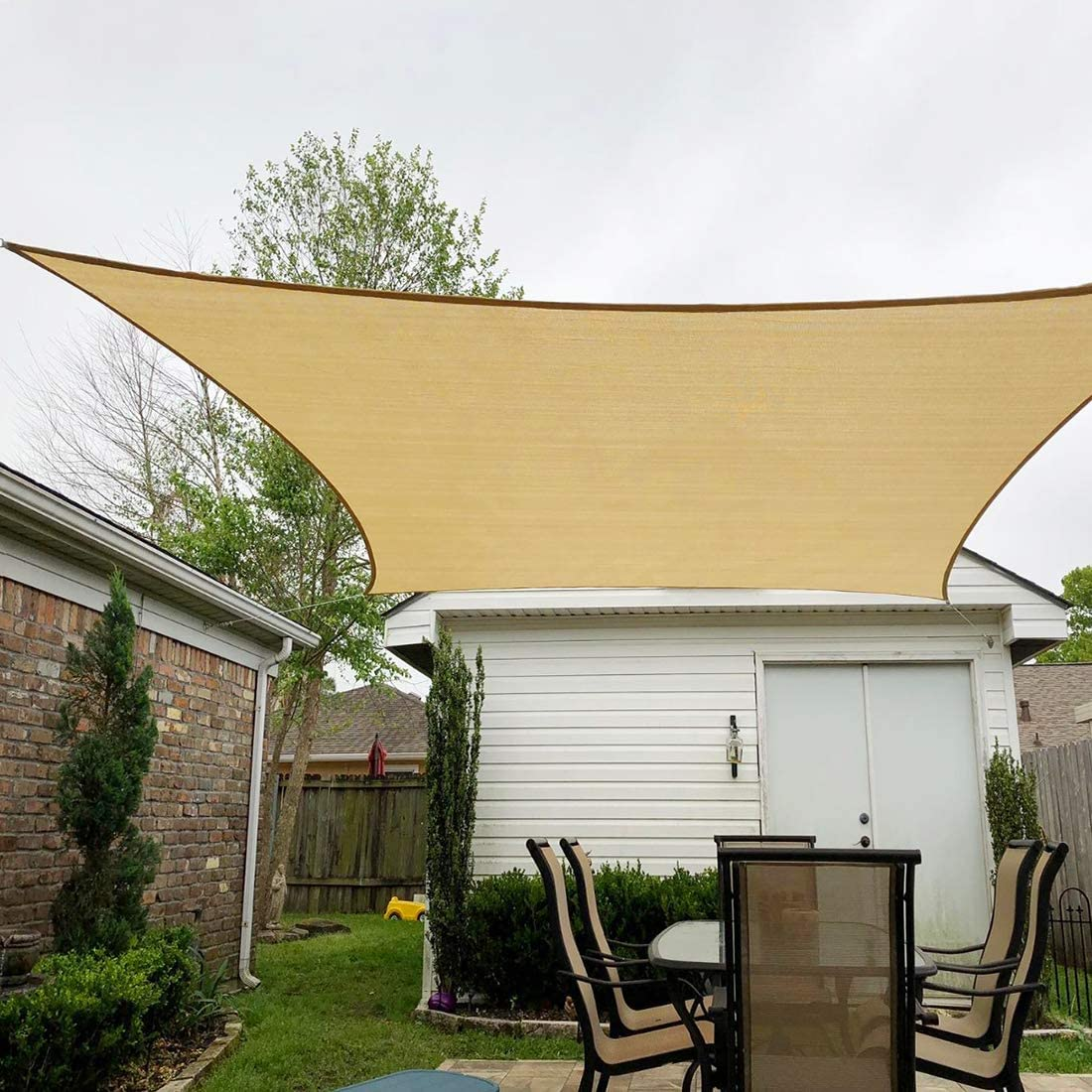 Peaktop Outdoor 20 x20 Sand Sun Shade Sail 185 GSM Square 98 UV Block Canopy Water Air Permeable Awning Patio Garden Porch, with Hardware Kits, 5 Years Warranty