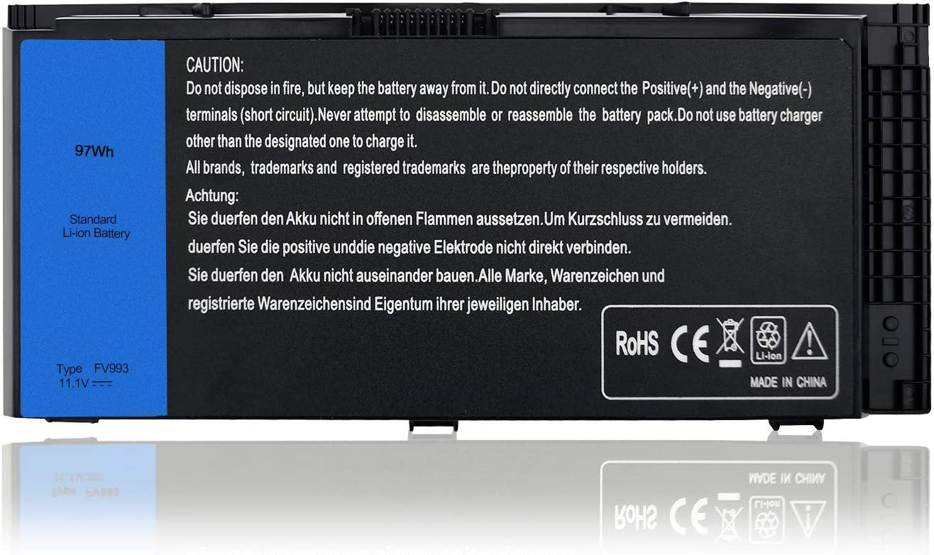 New 9 Cell 11.1V 97Wh FV993 Battery Replace for Dell Precision M6600 M4600 M4700 M6700 M6800 M4800 FJJ4W KJ321 PG6RC R7PND Laptop
