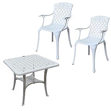 Lazy Susan - Mesa de centro cuadrada de jardín SANDRA y 2 sillas ...