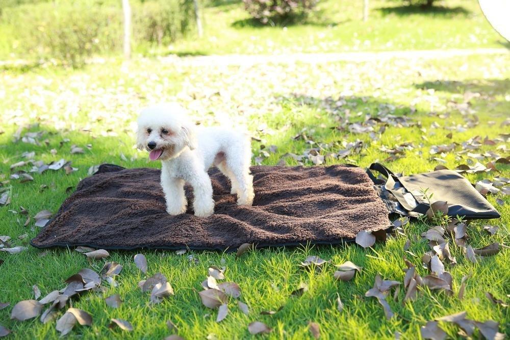 Lozse Pet Beds Foldable Outdoor Portable Pet Mat dog cushion Cat mat warm pet blanket Lamb fleece M for Dogs and Cats Sleeping Cushion