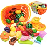 AMOSTING Pretend Food Kitchen Play Set for Kids Cutting Fruits and Vegetables Play Food Kitchen Toys 20 Piece Educational Toy
