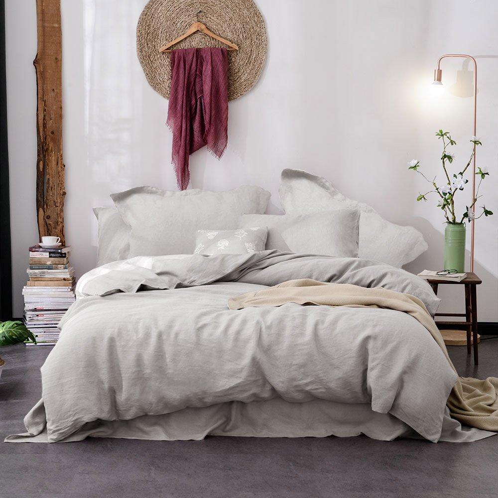 Lausonhouse Pure Linen Duvet Cover Set,Luxurious 100% French Flax Duvet Cover Set - Full/Queen - Gray