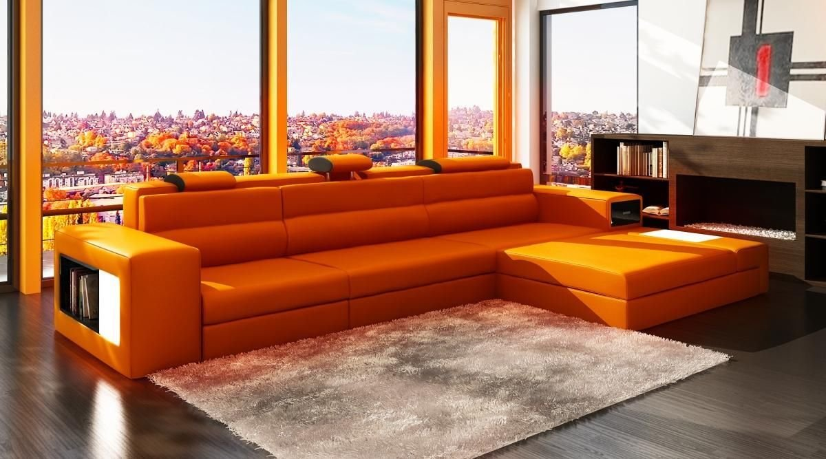 Exceptionnel Amazon.com: VIG Furniture 5022 Polaris Orange Bonded Leather Sectional Sofa:  Kitchen U0026 Dining