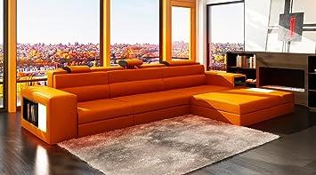 vig furniture polaris orange bonded leather sectional sofa - Vig Furniture