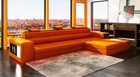 VIG Furniture 5022 Polaris Orange Bonded Leather Sectional Sofa : vig sectional sofa - Sectionals, Sofas & Couches