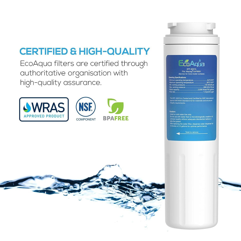 3x EcoAqua EFF-6007A Water filter fits Maytag UKF8001 Amana Puriclean II fridge