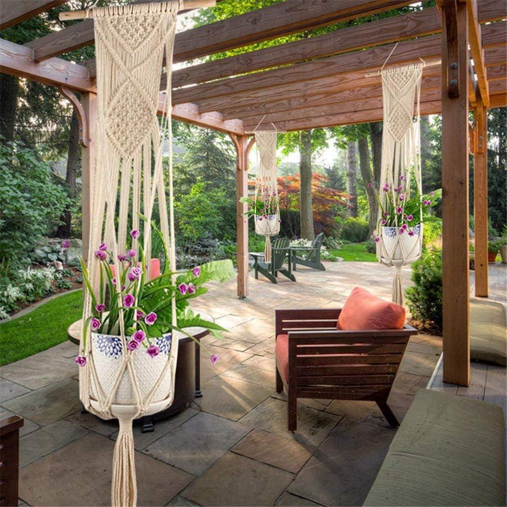 Sumshy Macramé - Soporte para Plantas de Maceta, Cuerda de algodón Boho para jardín o casa con borlas para Soporte para Plantas de Techo para terrazas de Maceta, 100 cm: Amazon.es: Jardín