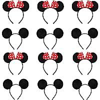 12 Pcs Diadema Para Orejas Ratón, Orejas de Minnie Mouse, for Masquerade, Birthday Party, Party Night, Cartoon Club (Red…
