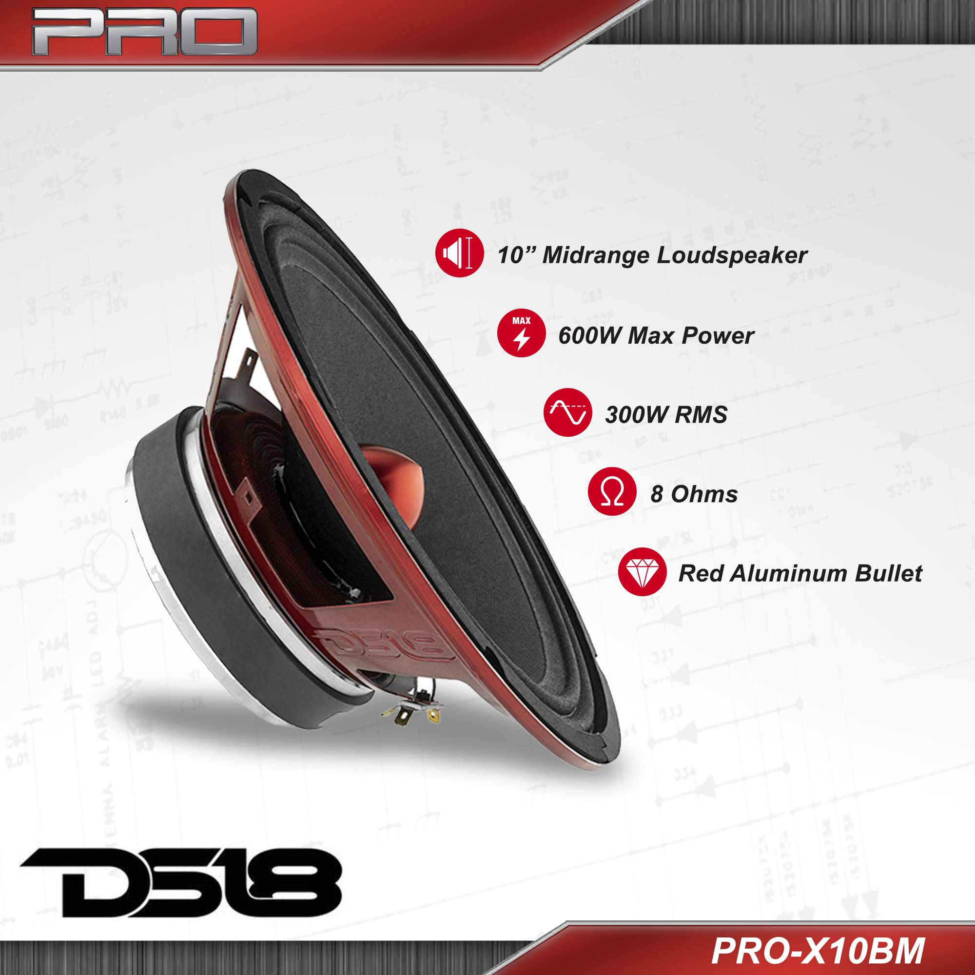 DS18 PRO-X10BM Loudspeaker - 10'', Midrange, Red Aluminum Bullet, 600W Max, 300W RMS, 8 Ohms - Premium Quality Audio Door Speakers for Car or Truck Stereo Sound System (1 Speaker) by DS18 (Image #3)
