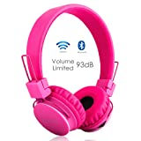 Volume Limited + Wireless Bluetooth Kids Headphones, Termichy wireless/wired Foldable Stereo over-Ear headsets with music share port and Built-in Microphone for calling, children Bluetooth Earphones for smartphones PC music gaming (Pink)