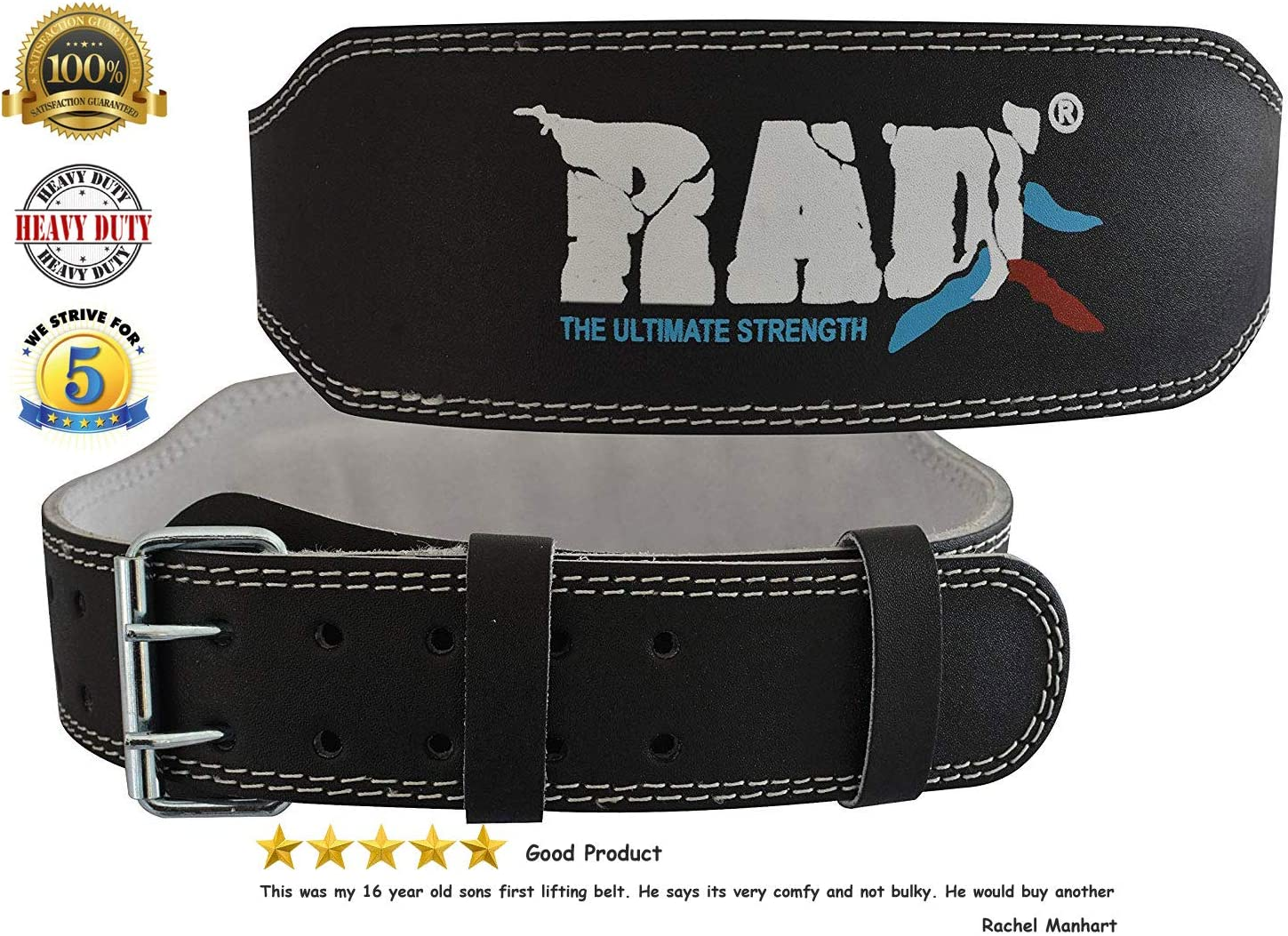 RAD Weight Lifting Belt 4 inch Leather Gym Workout Powerlifting Belt