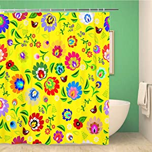 Topyee Shower Curtain Colorful Hungarian Traditional Polish Folk Floral Pattern Green Color 72x72 Inches Waterproof Polyester Bathroom Decor Curtain Set with Hooks