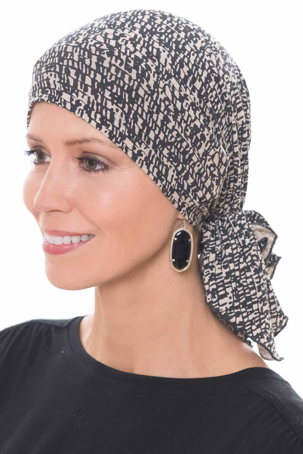 Slip-On Slinky Pre Tied Head Scarf - Scarves for Women with Cancer Chemo Luxury Bamboo - Mini Mosaic Black/Beige