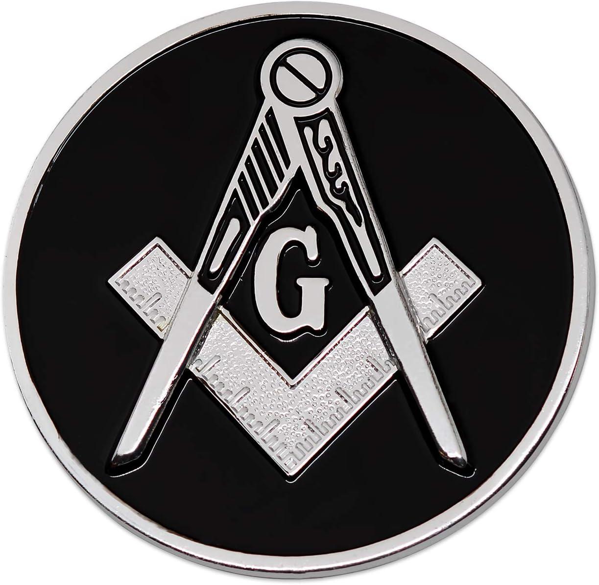Classic Blue Master Mason Freemasonry Adhesive Auto Car Emblem Metal Badge Decal
