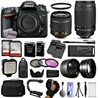 Nikon D7200 DSLR Digital Camera with 18-55mm VR II + 70-300mm f/4-5.6G Lens + 128GB Memory + 2 Batteries + Charger + LED Video Light + Backpack + Case + Filters + Auxiliary Lenses + More!