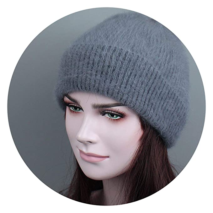 New Winter Women Hat Knitted Wool Angora Skullies Simple and Stylish Mink  Girl Warm Adult Hat d144ce855d8