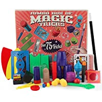 AOLVO Classic Illusions, Mysterious Levitating Wand, Cup Ball, Coin Magic Tricks Toy Kit for Kids with over 75 (Multicolour)