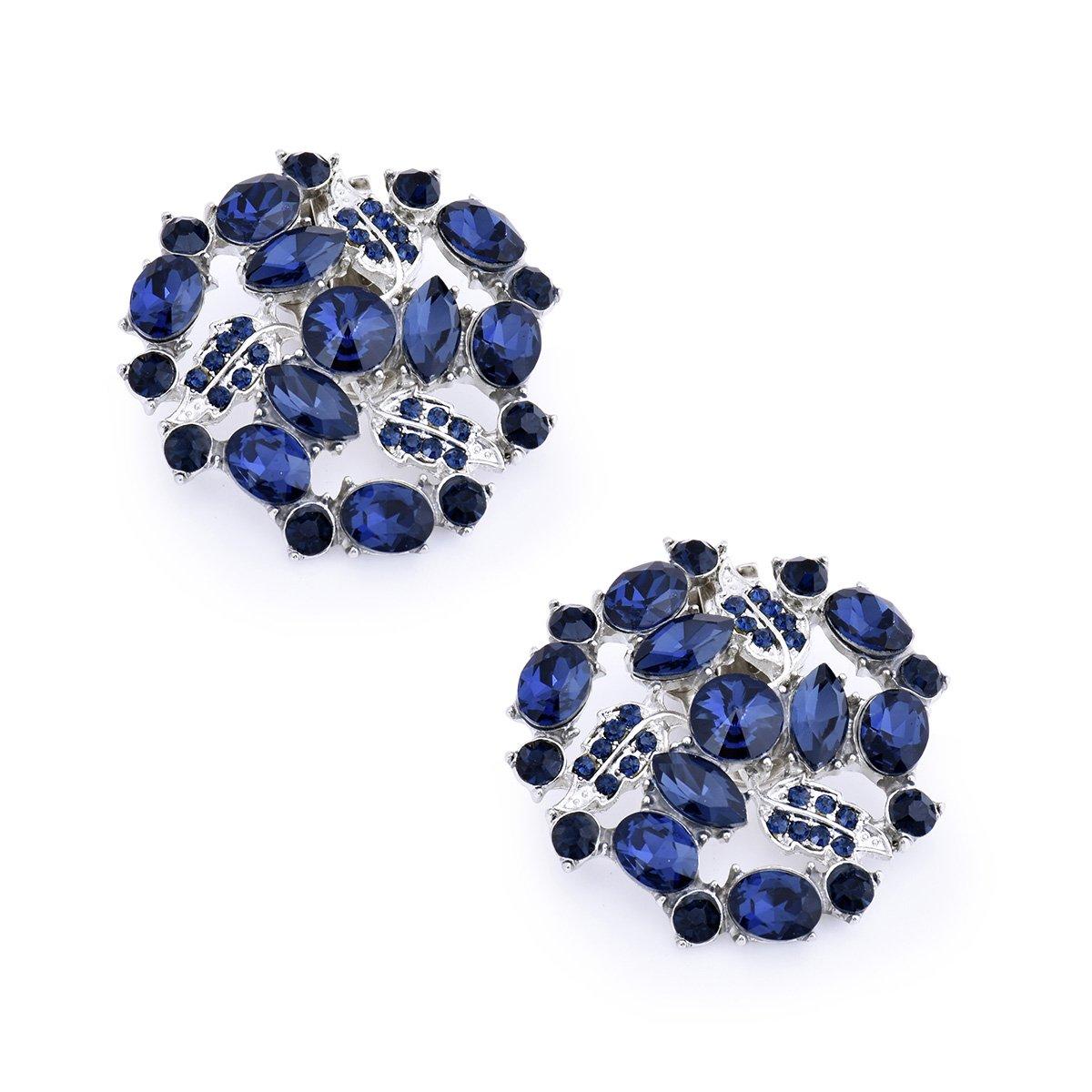 ElegantPark AM Women Rhinestones Decoration Wedding Party Shoe Clips 2 Pcs Navy Blue