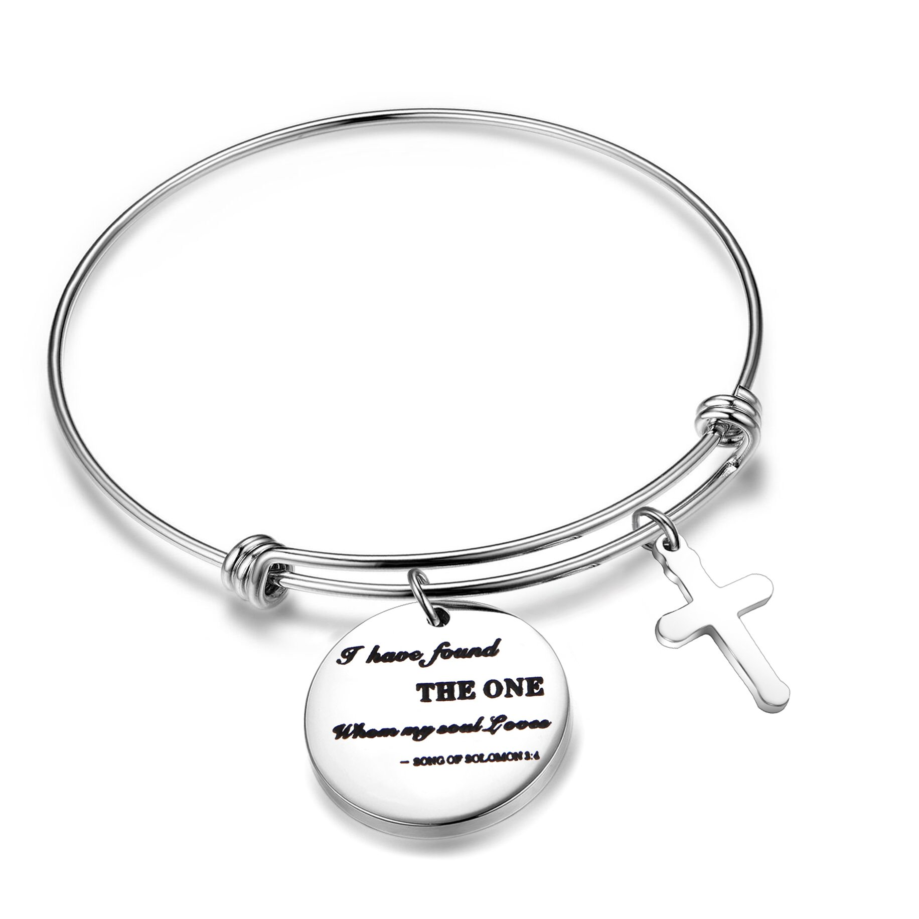 FEELMEM Wedding for Her Song of Solomon 3:4 Bracelet I Have Found The One Whom My Soul Loves Expandable Wire Bangle for Bride Wife(Song of Solomon 3:4)