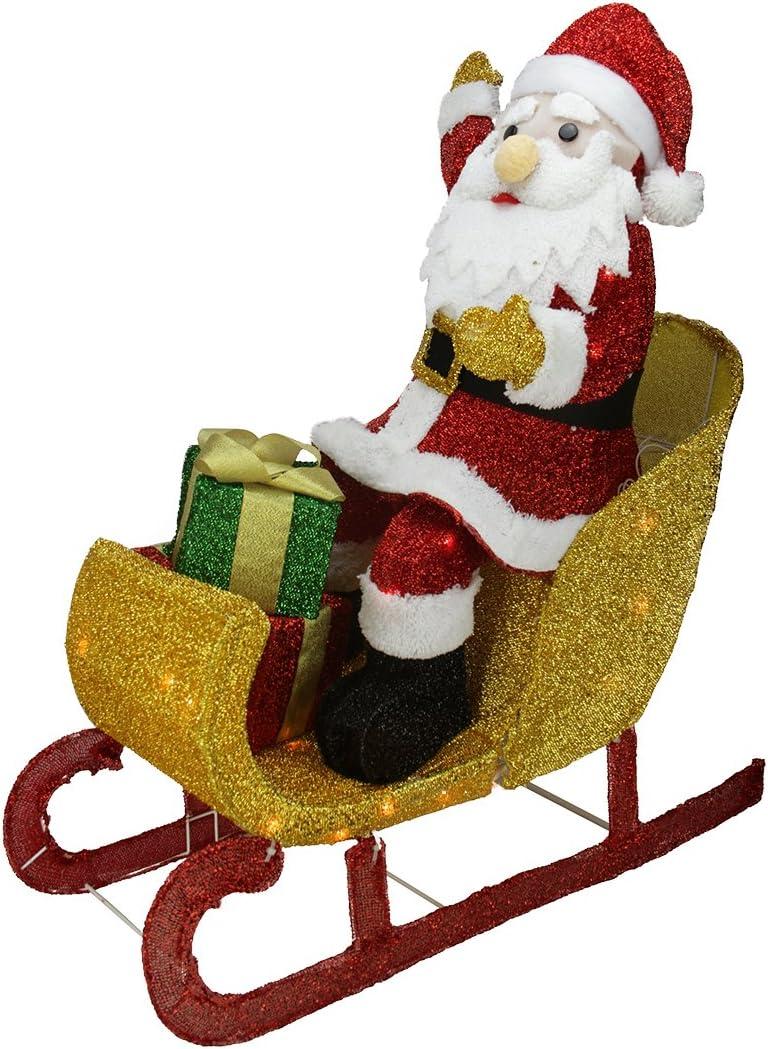 Santa Car Tinsel Light Display 32 INCH LONG NEW