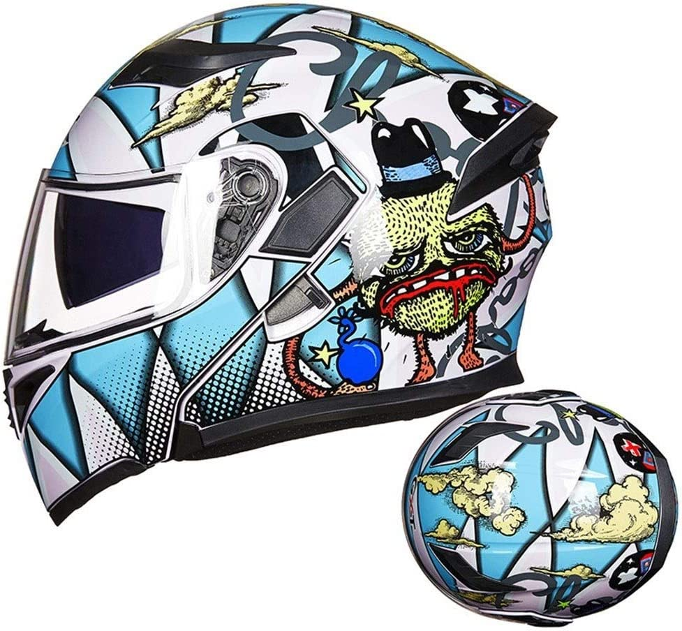 TUDB オートバイヘルメットダブルレンズ防曇ヘルメットオープンフェイスヘルメットフルフェイスヘルメットフォーシーズンズオートバイヘルメット - ホットブラッドボール/ホワイトブルー (Size : M)