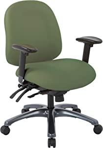Office Star 8500 Series Multi-Function Mid Back Executive Ergonomic Office Chair with Seat Slider and Titanium Finish Base, Dillon Sage Fabric