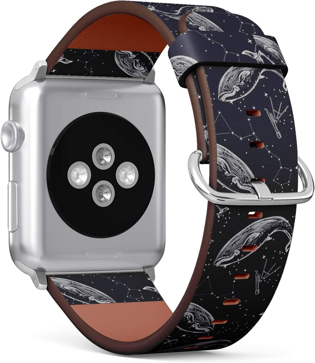 Compatible with Apple Watch 42/44mm (Big) - Replacement Accessory Leather Band Strap Bracelet Wristbands with Adapters (Whale Constellation)