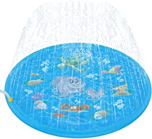 """Tobeape Sprinkler for Kids, Sprinkle & Splash Pad Play Mat, Upgraded 68"""" Inflatable Outdoor Water Toys Wading Swimming Pool for 1-12 Years Old Children Learning Toddler Girls Boys"""