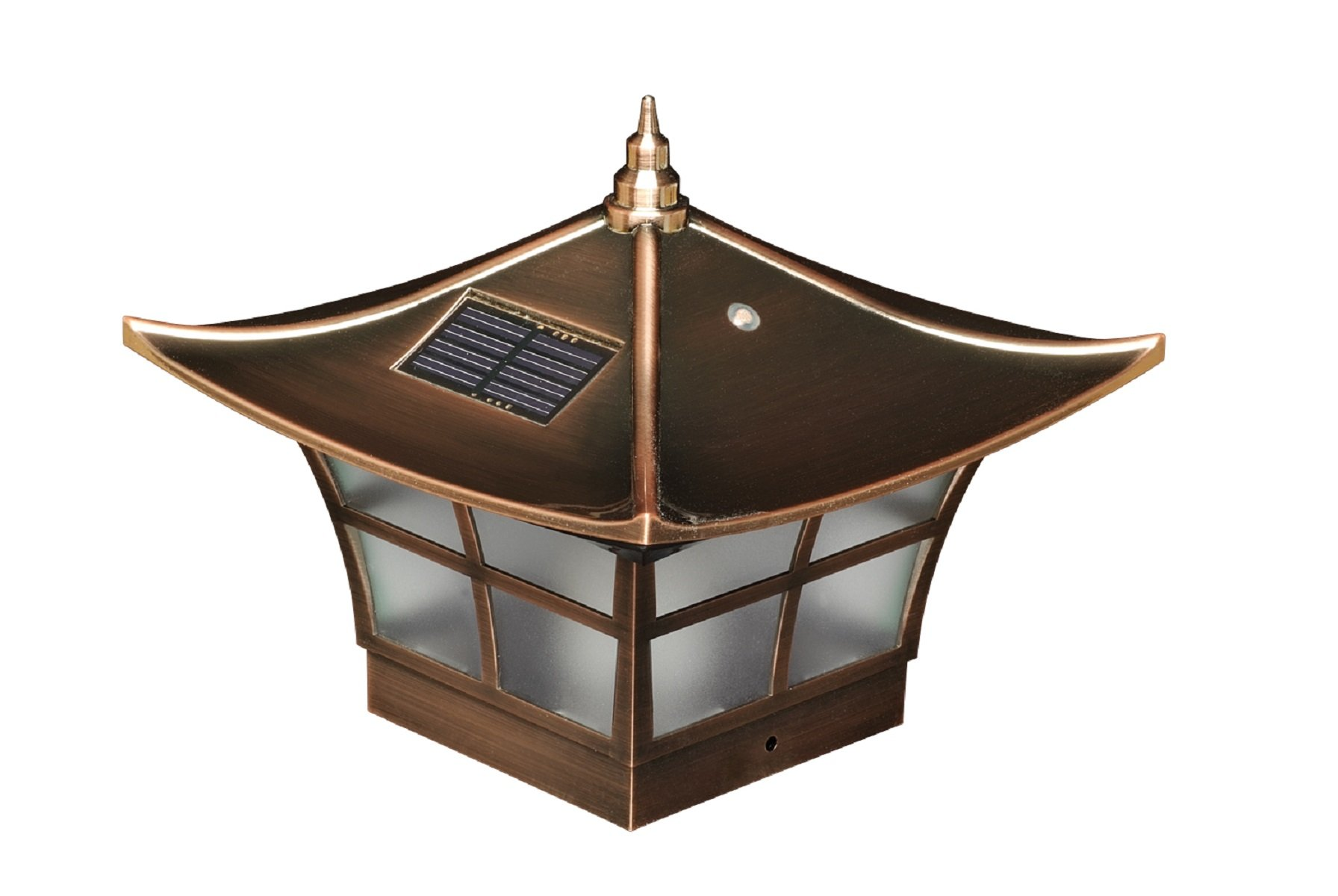 Classy Caps SL094 Copper Plated Ambience Solar Post Cap for 4'' x 4'' (3.5'' X 3.5'' adapter included) fence posts with LED warm flickering candle effect. Durable weather resistant design won't fade over time.