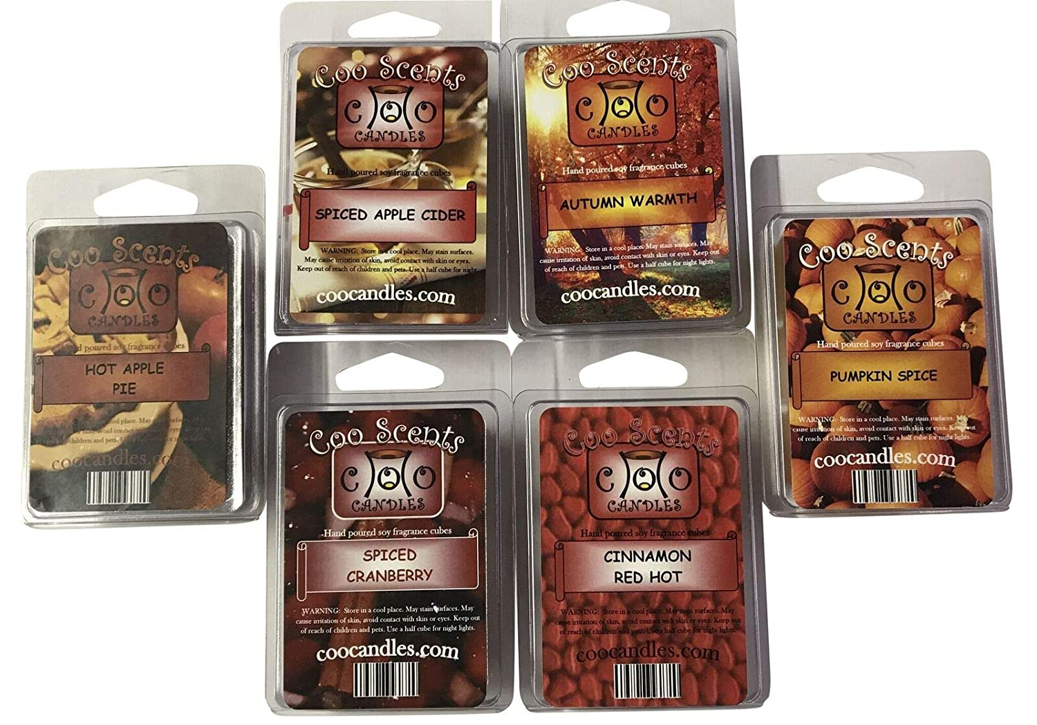 6 Pack Soy Wickless Candle Wax Bar Melts - Autumn Spice Pack - Great for Fall or Winter. Pumpkin Spice, Cinnamon Red Hot, Spiced Apple Cider, Spiced Cranberry, Hot Apple Pie, and Autumn Warmth
