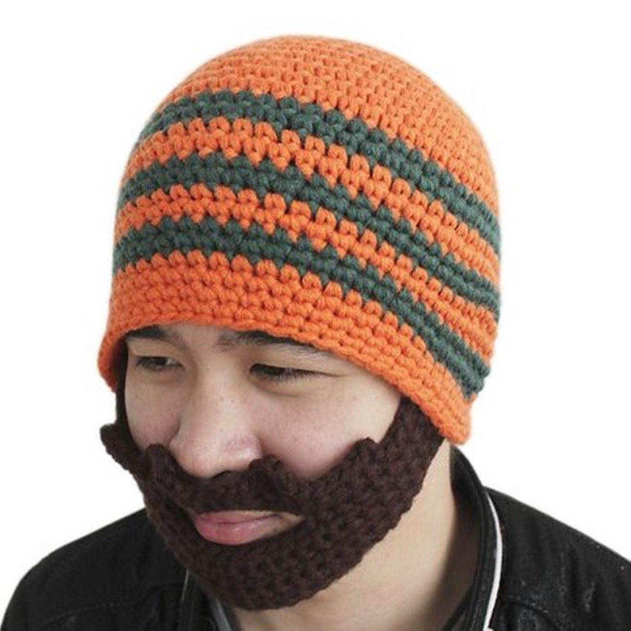 Men Beard Beanie Handmade Winter Hat Outdoor Face Warmer (Blue) at ...