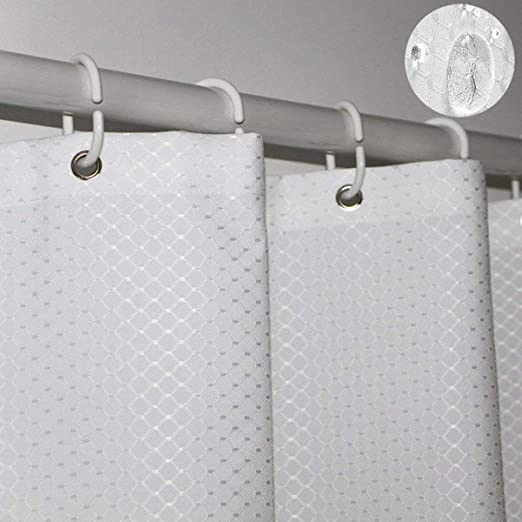 Mildew Resistant Antibacterial Bathroom Curtains Water Repellent White Rust Proof Metal Grommets Tektrum Heavy Duty 36 by 72-inch Waffle Weave Jacquard Shower Curtain with Hooks for Hotel Home
