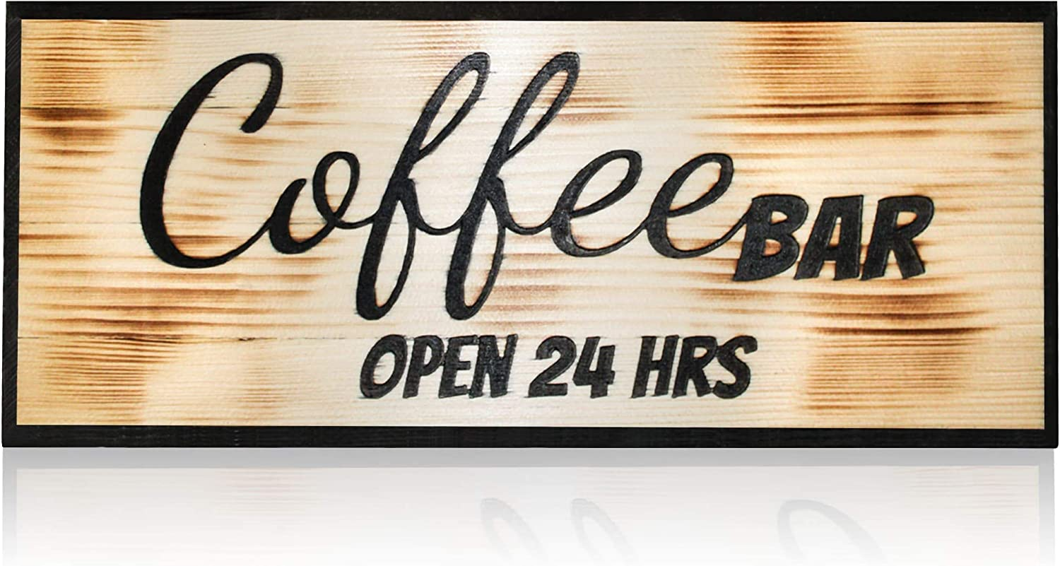 patioycarbon Coffee Bar Wall Art Sign Decor Rustic Home Wood Decorative Sign Open 24 Hours Coffee Bar Accessories Hanging Sign