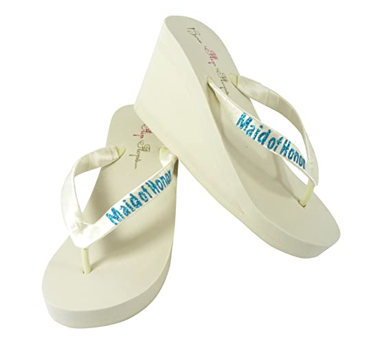 8fc9d682492288 Amazon.com  Maid of Honor Glitter Flip Flops - choose heel and color- ivory  and turquoise  Handmade