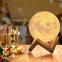 OxyLED Led-maanlamp met afstandsbediening, 18 cm lang, decoratieve lamp, 3D maanlamp, draagbaar nachtlampje met dimbaar…