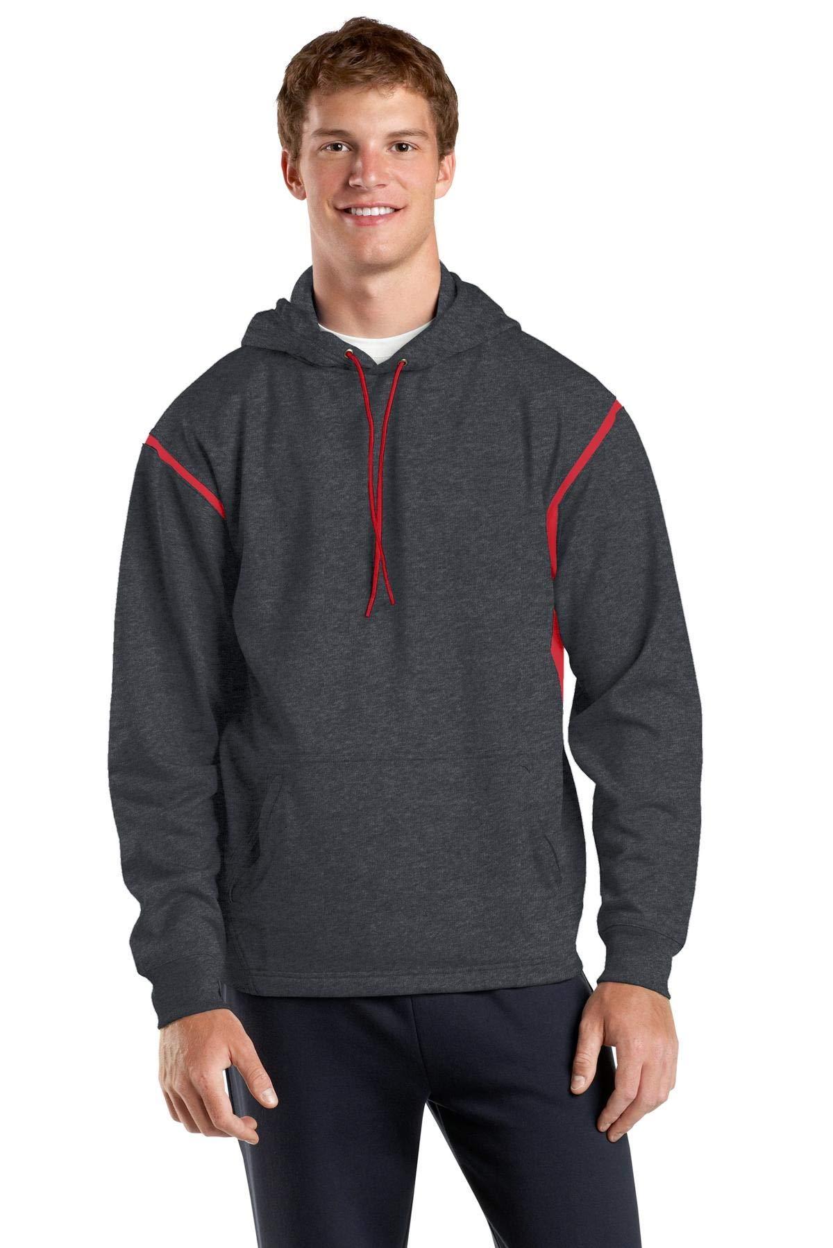 Sport-Tek Men's Tall Tech Fleece Colorblock XLT Graphite Heather/True Red by Sport-Tek