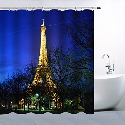 AMFD Eiffel Tower Shower Curtain Paris Fashion Night Scene Beautiful Architectural Landscape Polyester Fabric Waterproof Mildew