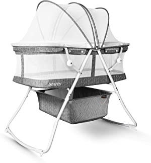 besrey Baby Bassinets, 3 in 1 Portable Bassinet, Rocking Bed with Harmless Mattress, Quick-Fold for Newborn Girl Boy Infant up to 33 lb