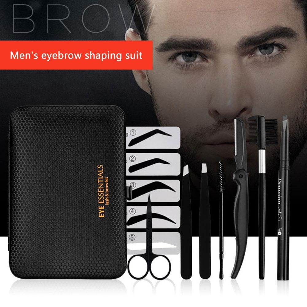 Eyebrow Grooming Set, Leegoal Eyebrow Grooming Suit Kits with Stainless Steel Scissors, Eyebrow Sharper/Brush/Pencil/Comb & 5pcs Eyebrow Shape Card for Men and Women