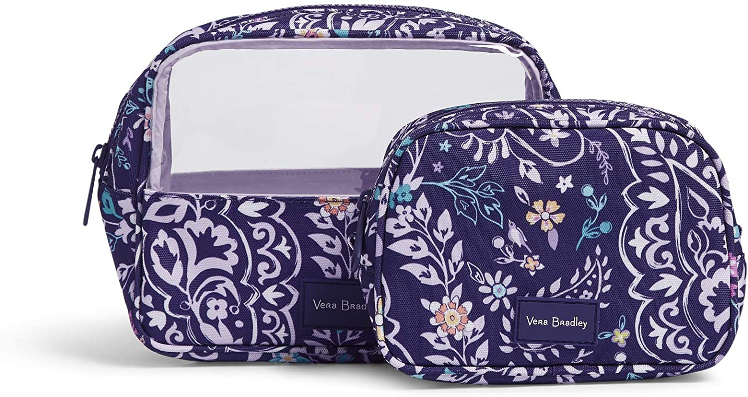 Vera Bradley Women's Recycled Lighten Up Reactive Cosmetic Makeup Organizer Set