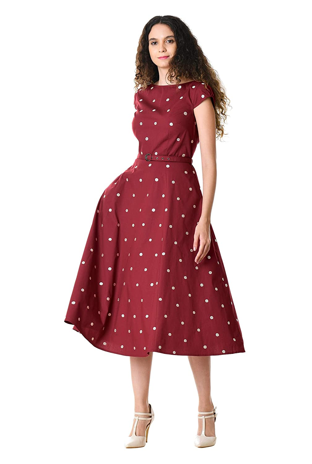 60s 70s Plus Size Dresses, Clothing, Costumes eShakti Womens Polka dot Embellished Cotton poplin Dress $74.95 AT vintagedancer.com
