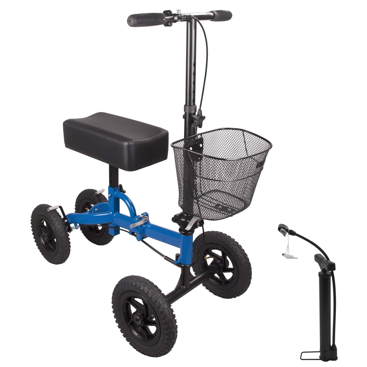 H&A All Terrain Rolling Knee Walker for Leg and Foot Injuries Crutch Steerable Alternative Medical Knee Scooter with Free Tire Pump (Blue)