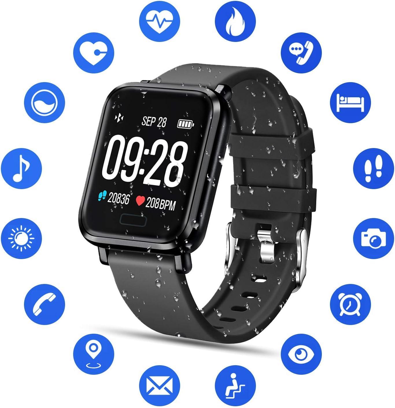 Tipmant Reloj Inteligente Mujer Hombre Smartwatch Pulsera de Actividad Inteligente Impermeable IP68 Pulsómetros Podómetro Monitor de Sueño Calorías para iPhone Android Xiaomi Samsung Huawei (Negro)
