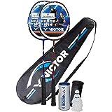 Victor V-3100 Magan 2 Player Badminton Set - 2 Rackets (1 Red & 1 Blue), 1 Bag & 3 Shuttlecocks