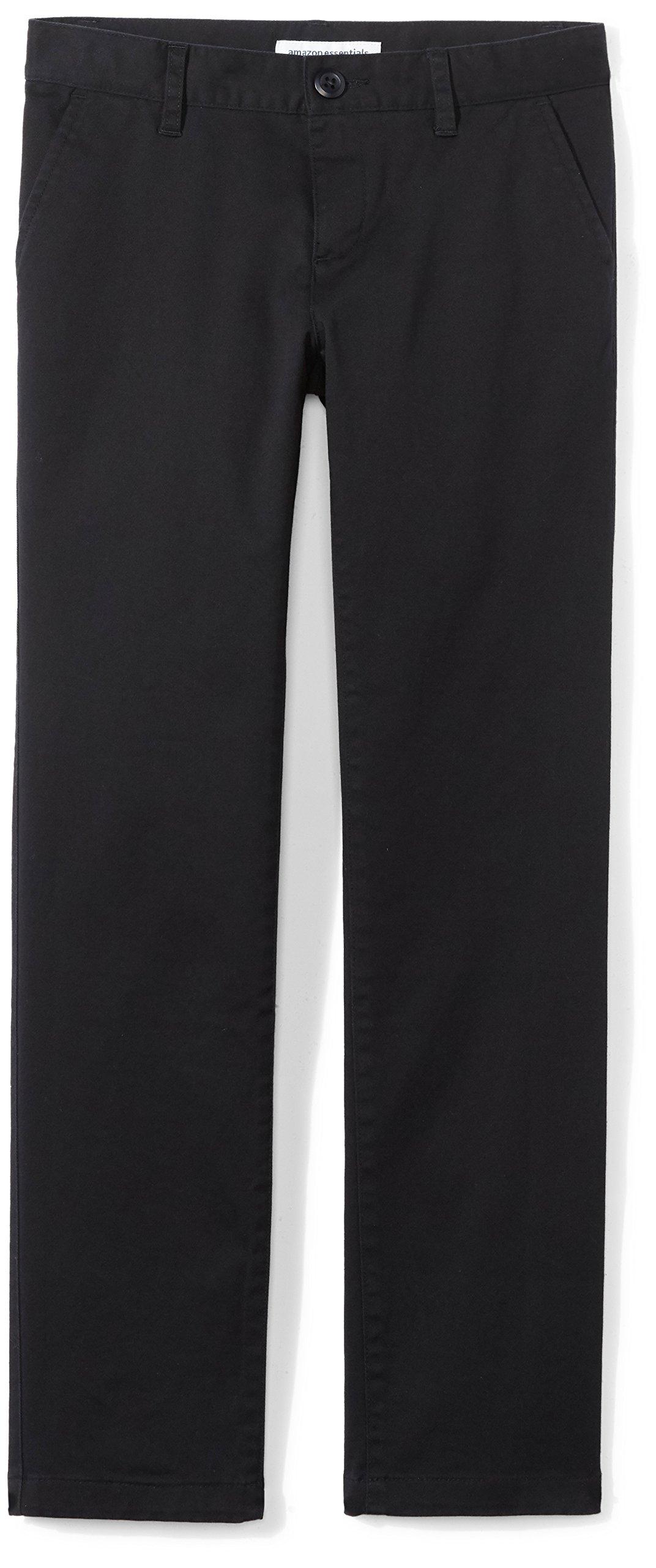 Amazon Essentials Girls' Flat Front Uniform Chino Pant, Black,12