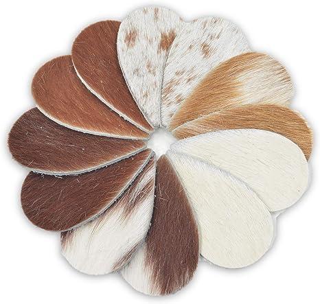 Leather Earrings Micro Teardrop Die Cut 12pk Hair On Off White//Black Mix DIY