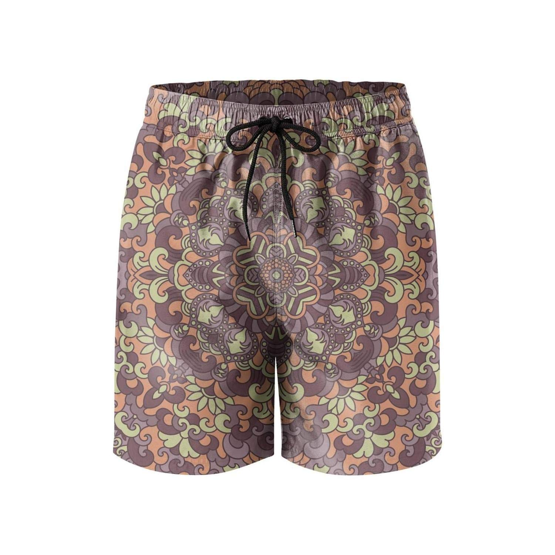 Mens Ethnic Style Vintage Style Beach Shorts Classic Slim Fit Quick Dry Swim Short